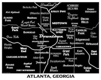 Atlanta Neighborhoods Map Art Print, Downtown Atlanta Map, GA Tech, Atlanta Map Art black and white