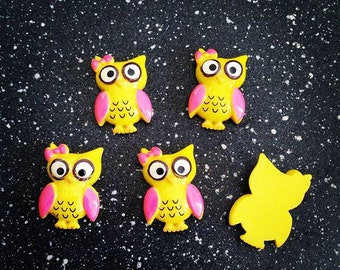 5 pcs Yellow and Pink Flatback Resin Owls