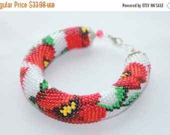 SALE 25% Christmas sale Red Poppy Bead Crochet Bracelet, Flower Bracelet Red Flower Bracelet Gift for her Made with Love Beaded Je