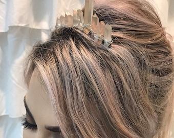 Crystal tiara, bun clip, crystal crown, festival crown