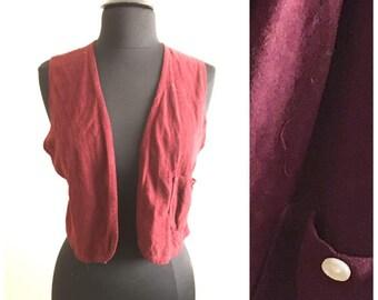 70s MAROON VEST / vintage small red velvet loose medium spring summer fall autumn winter