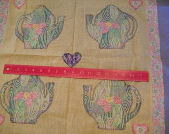 Destash- Vintage Teapot Quilt Square In Pastels