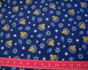 Deatash- Well Over 2 Yards of Beautiful Blue Hanukkah Themed Cotton Fabric