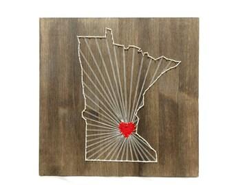 Minnesota String Art States Decor Minnesota Wall Art Home Decor