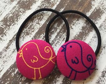 Pink Bird Hair Tie – Bird Hair Clip – Sparrow Hair Elastic – Bird Hair Button – Bird Ponytail Holder – Bird Barrette – Back to School Hair