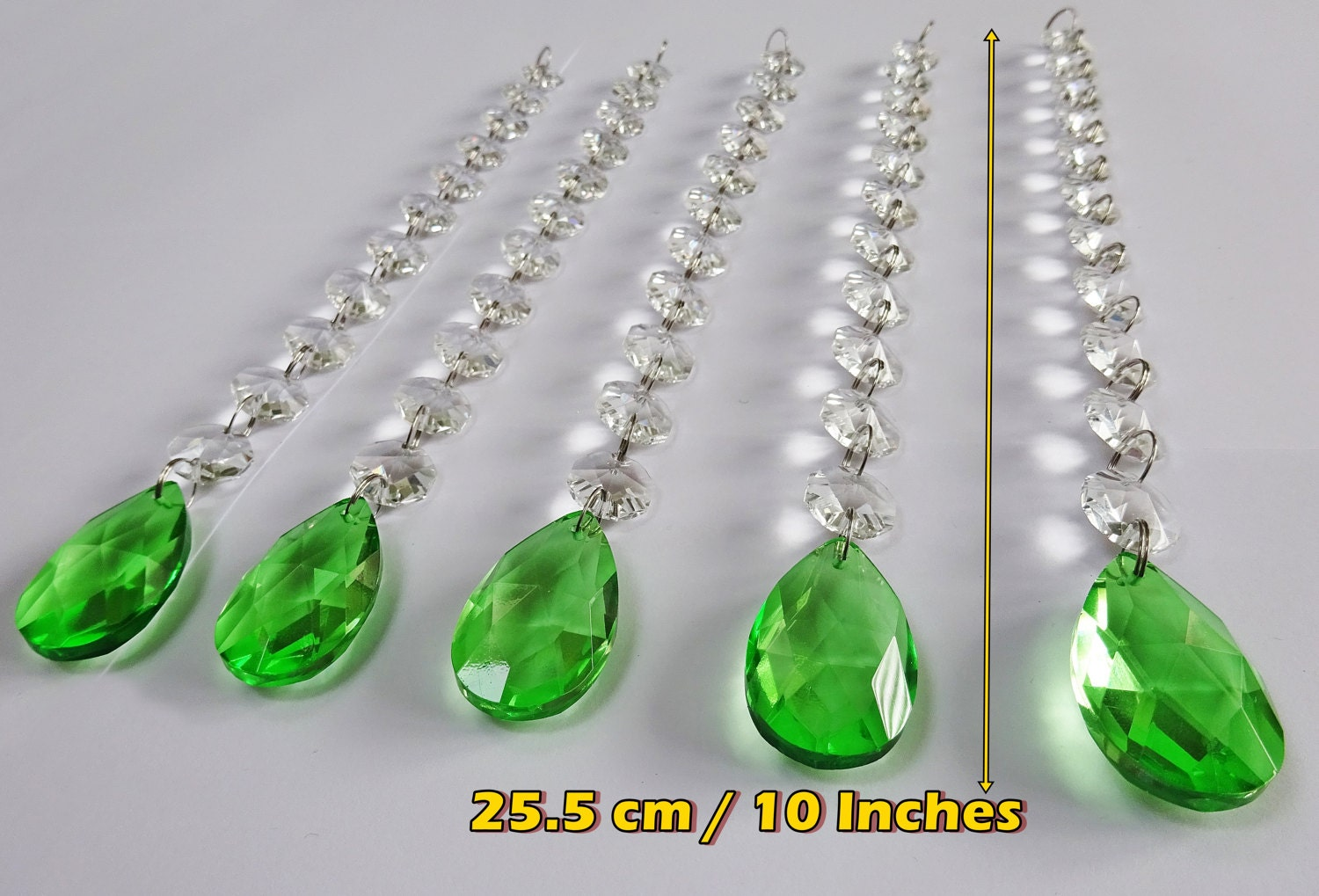 5 Hot Emerald Green Chandelier Drops Glass Crystals Droplets Oval ...