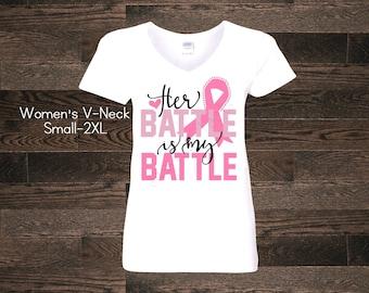 Breast Cancer Pink Ribbon Her battle is my battle cross God Faith Awareness Womens Womans V-Neck Shirt Name Custom Women Ladies Plus Size