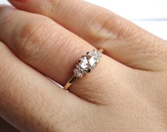 Rose Cut Diamond Bow Ring, Engagement Ring, Wedding Band, 14K Yellow Gold
