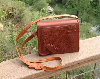 Vintage Tooled Leather Purse, Mexico Leather Purse