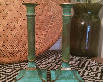 Vintage (SET of 2) Verdigris Brass Candlesticks