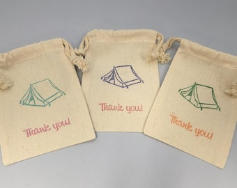 Camping Party Favor Bags: Muslin Bags With Camping Designs, Camp out Goody Bag, Tent Party Bags
