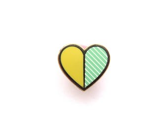 Tiny Heart Pin Mint and Yellow, Enamel Pin, glitter, gold metal, hard enamel, brooche, lapel pin, little lefty lou, slight second, pin badge