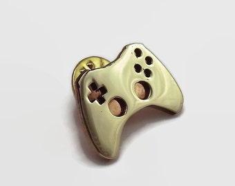Game Controller Pin - Video Game Jewelry in Brass and Copper - Geeky gamer jewelry perfect for a tie pin or lapel pin, a nerdy gift