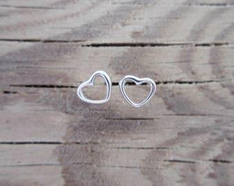 Silver Heart Stud Earrings - Tiny Heart Earrings - Small Heart Studs - Love Earrings - Cute Stud Earrings - Dainty Heart Earrings