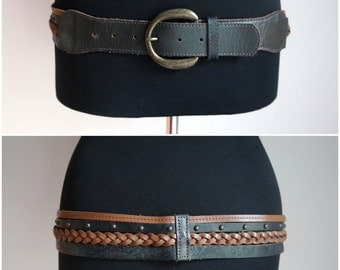 Multi straps hip belt, brown and black skinny leather lattices, braided, studed, golden buckle, medium size, vintage accesories
