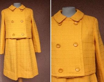 1960's Mustard Wool Set - 60's Dress + Blazer - Size S