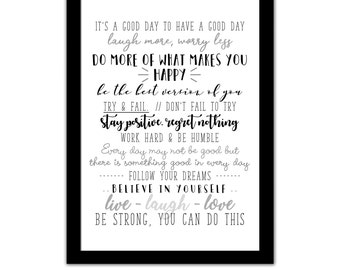 Family House Rules, Home Office, Stay Positive, Happy Motivational, Inspirational Quotes, Believe In Yourself - Typography Framed A4 Print