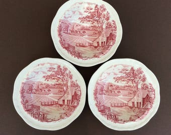 Alfred Meakin red transferware bowls, Home Pastures design, set of 3