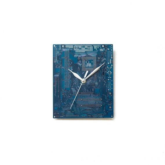 Boyfriend Gift - Husband Gift - Dark Blue  Large Wall Clock - Circuit Board Clock - Computer Clock - Modern Clock - Geek Wall Clock