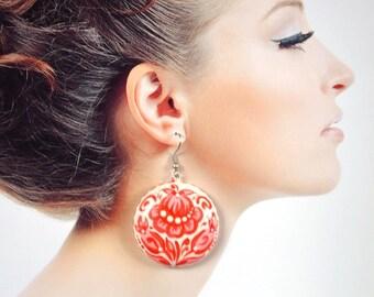 White Red flower earrings handmade gift|for|women earrings flower Unique gift ideas romantic earrings sister gift elegant Jewelry holiday
