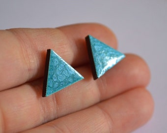 sky blue earrings gift|for|wife gift|for|her girlfriend gift hand made earrings tiny stud geometric jewelry minimalist earrings blue jewelry
