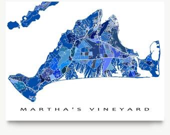 Martha's Vineyard Massachusetts, Martha's Vineyard Island Map Art Print, Blue
