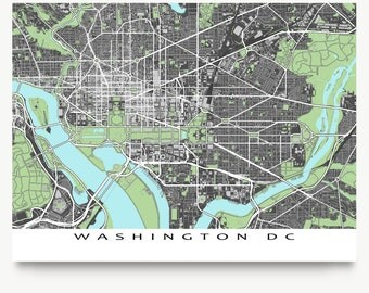Washington Dc Wall Art washington dc map city street map art print 1567