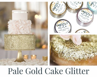 Wedding Cake Glitter, Edible Gold Dust, Gold Edible Glitter, Metallic Cake, Sparkly Cake for Gold Wedding, Gift For Her, Pale Gold (E042)