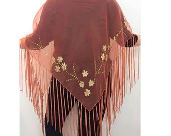 Sheer Fringe Hand Painted Pink Shawl - Salmon Shawl- Fringe Sheer Floral Shawl - Boho Hippie gypsy Shawl - Gypsy Style - Pink Fringe Shawl