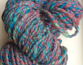 Handspun art yarn - linen, flax - handspun yarn - merino silk