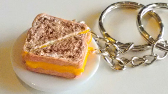 BFF Grilled Cheese Keychains, Miniature Food Jewelry, Inedible Jewelry, Best Friends Jewelry, Kawaii Jewelry, Kid's Jewelry, Food Keychains