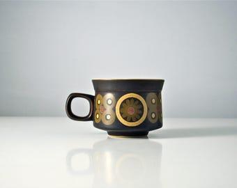 Coffee cup & saucer. Denby Pottery Arabesque, Samarkand. Gill Pemberton Mid Century Modern design. Tea cup. 1960s. Brown mug.