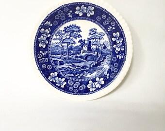 Spode Blue Tower Bowl / Vintage Transferware Blue and White Saucer / England Blue Tower Bridge Spode Design C.1814.B