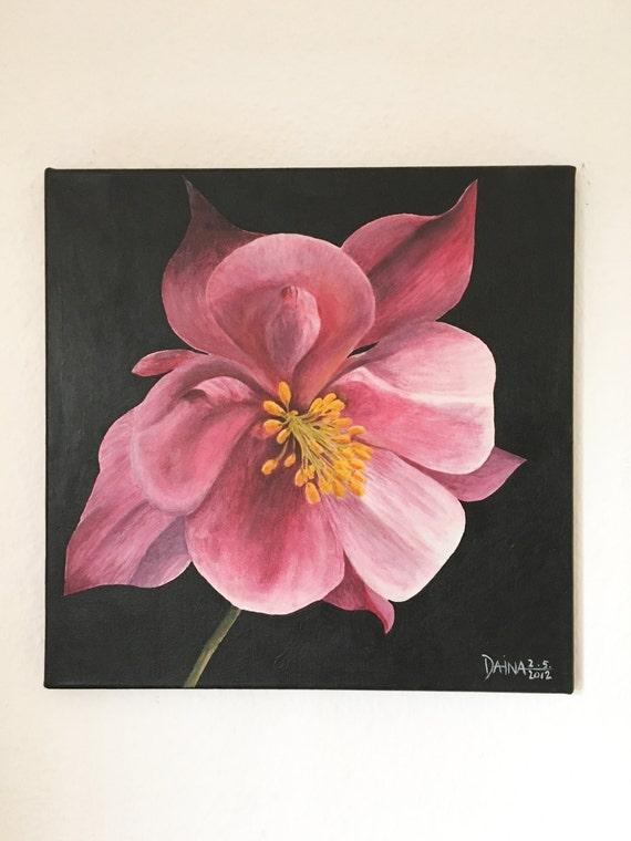 Columbine - A Plant Study - Acrylic Painting On Canvas - Unique