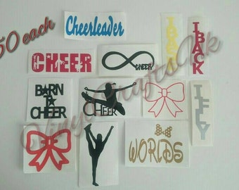 "All cheer vinyl stickers 1.50 each, will combine postage, up to 3"" per sticker, many colours available"