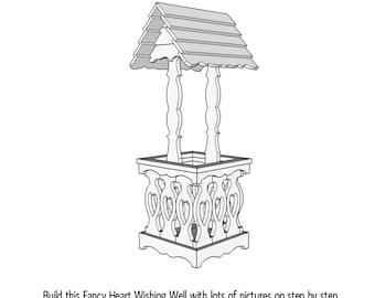 Fancy Heart Wishing Well  -  Wood Plans - PDF File - Blueprint
