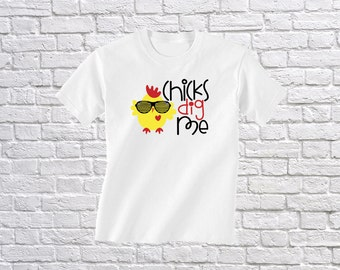 Boys Easter Shirt - Chicks Dig Me - Cute Easter T-Shirt - Easter Bunny Tshirt - First Easter Outfit - Easter Bunny Outfit