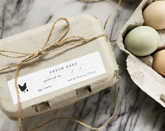 Egg Carton Labels - Printed - Fresh Eggs Label - Chicken Design - Fill in the Blank Carton Stickers - Adhesive Labels