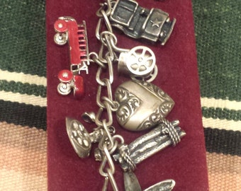 Vintage Western Themed Silver Charm Bracelet