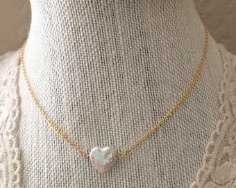 Pearl Heart Freshwater Pearl Layering Necklace Delicate Everyday Necklace Gift for her Valentines Day gifts under 30 Pearl Choker