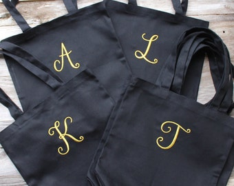 6-20 Monogrammed Bags for Bridesmaids, Black & Gold Canvas Tote Bags, 13.5 inch, Embroidered, Initial Monogram ***FAST SHIPPING!