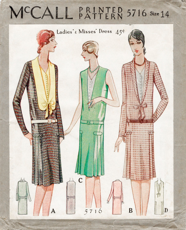 1920s 20s McCall pattern flapper day dress drop waist bust ...