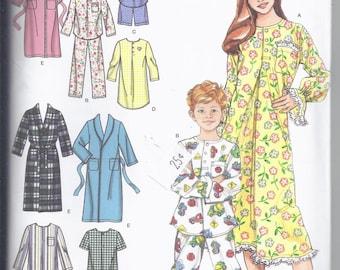 Simplicity 4388 Sewing Pattern from 2005.  Children's Night Shirt, Nightgown, Shirttail Hem Pajamas, Robe, Sleepwear .  Breast 26-32 UNCUT