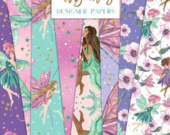 Fairy Dragonfly Digital Paper Pack Floral Glitter Stars Fantasy Hand Drawn Patterns | Planner stickers Graphics  resources Fabric Backdrop