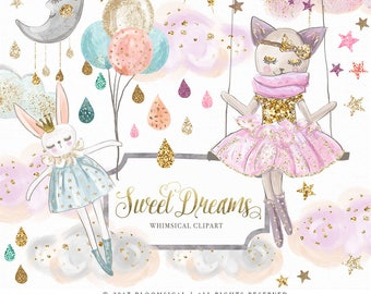 Sweet Dreams Clip art Hand drawn Whimsical Cat Bunny Clouds Stars Nursery Illustration | Planner Stickers Digital Graphic Resources Cliparts