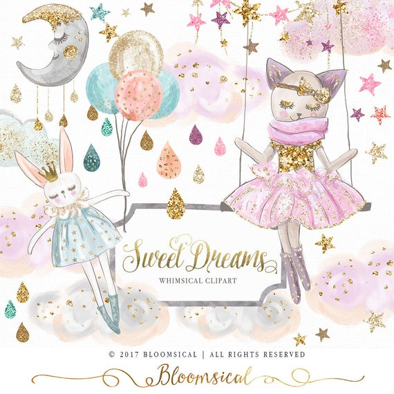 Sweet Dreams Clip Art Hand Drawn Whimsical Cat Bunny Clouds