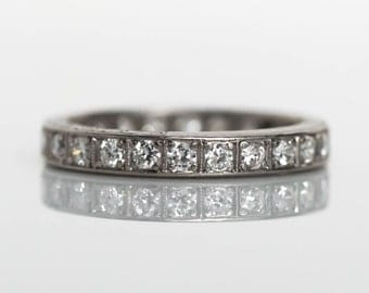 Circa 1910s Art Deco Platinum .90cttw Old European Cut Diamond Eternity Band - VEG#683