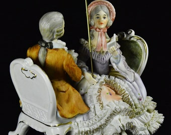 Vintage Porcelain Courting Couple Figurine with Parasol - Inspired by Meissen and Dresden