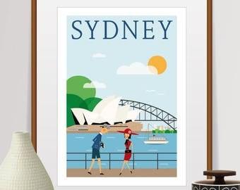 sydney print, sydney poster, sydney skyline, australia travel poster, australia print, mid century modern art, city prints, home decor