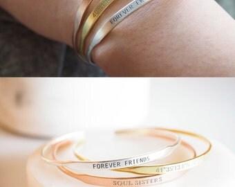 40% OFF Custom Message Bracelet • Yoga Jewelry • Stacking Mantra Bracelet • Delicate Inspiration Bracelet Gift • Gift for Her • BM32